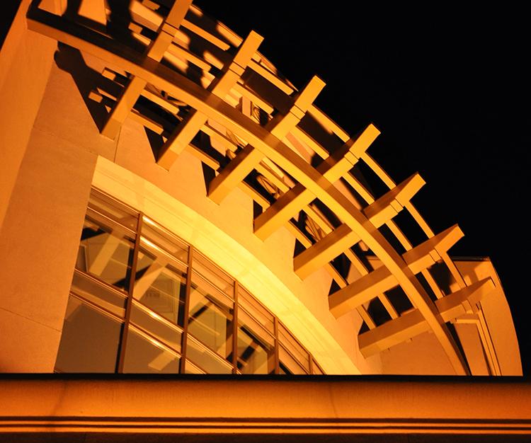 Night view of Redding Building