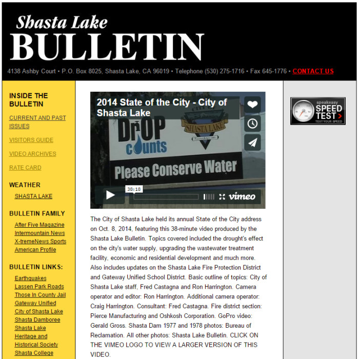 Shasta Lake Bulletin
