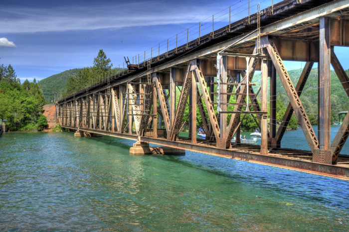 A rail bridge crossing Lake Shasta.