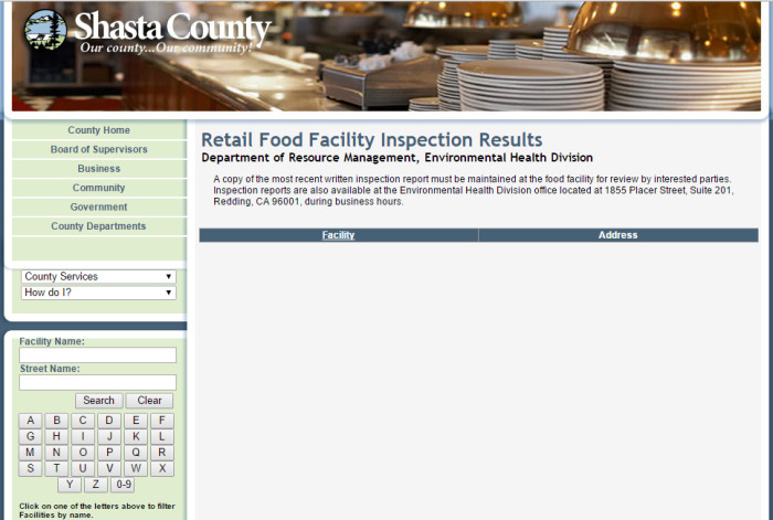 Shasta County Health Inspections