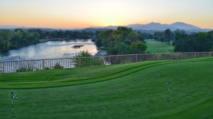 Sunset in Redding at Riverview. To achieve lawns as perfect as these, try <a href=