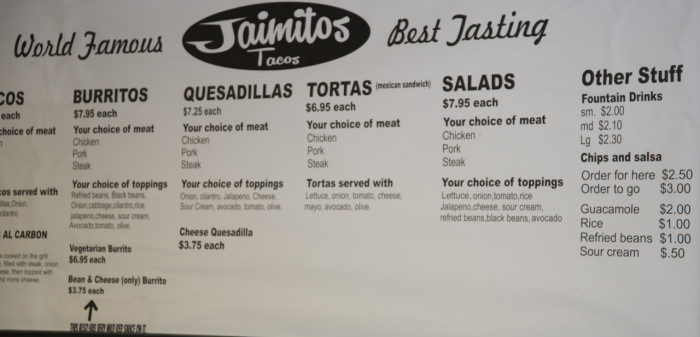 Oops. I cut off the taco portion of the menu. Tacos of all sorts are just over $2