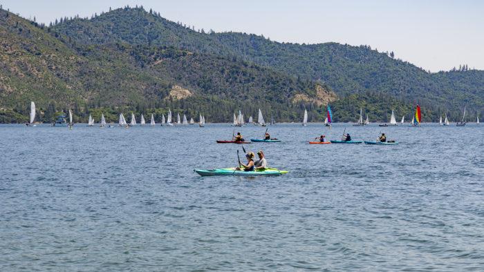 Kayaks and sailboats at Whiskeytown