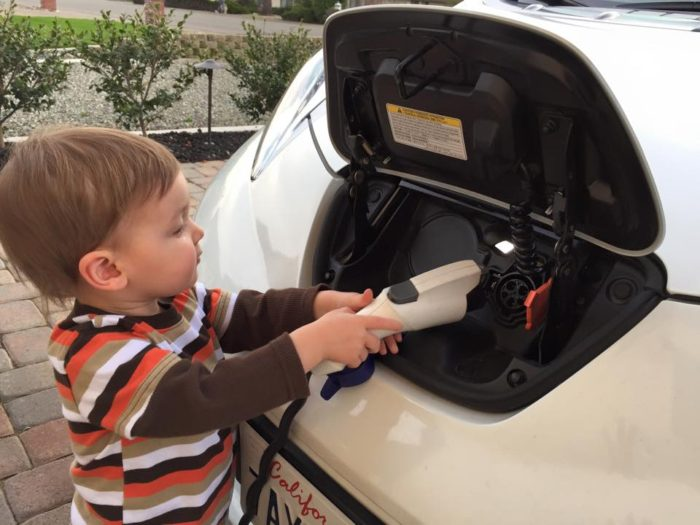 Grandson knows you must unplug this car before you can drive away.